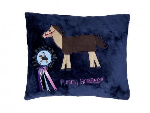 Fleecekissen Funny Horses dunkelblau/dunkelpink HKM