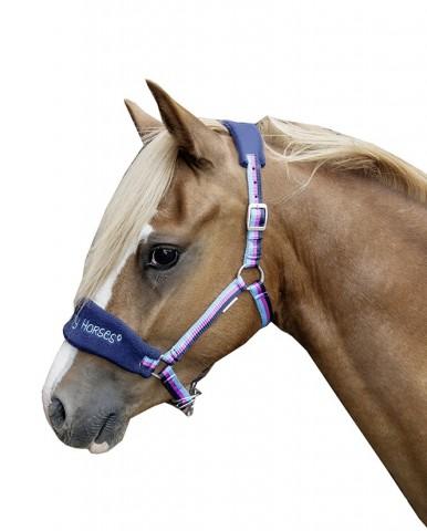 Halfter Funny Horses dunkelblau/blau/dunkelpink HKM