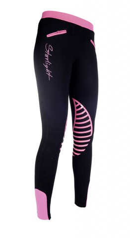 Kinderreitleggings Starlight schwarz/pink HKM