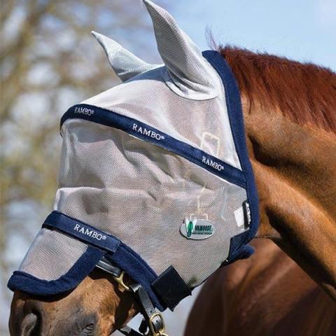 Rambo Fliegenmaske Plus Vamoose silber/blau HORSEWARE